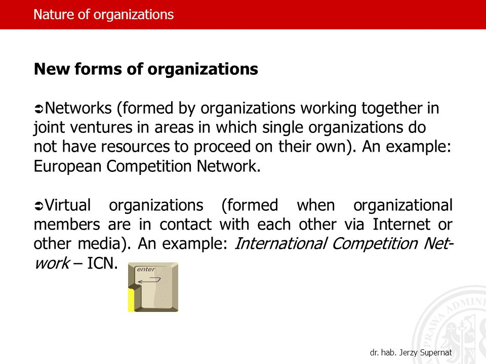 Nature of organizations New forms of organizations Networks (formed by organizations working together in joint ventures in areas in which single organ