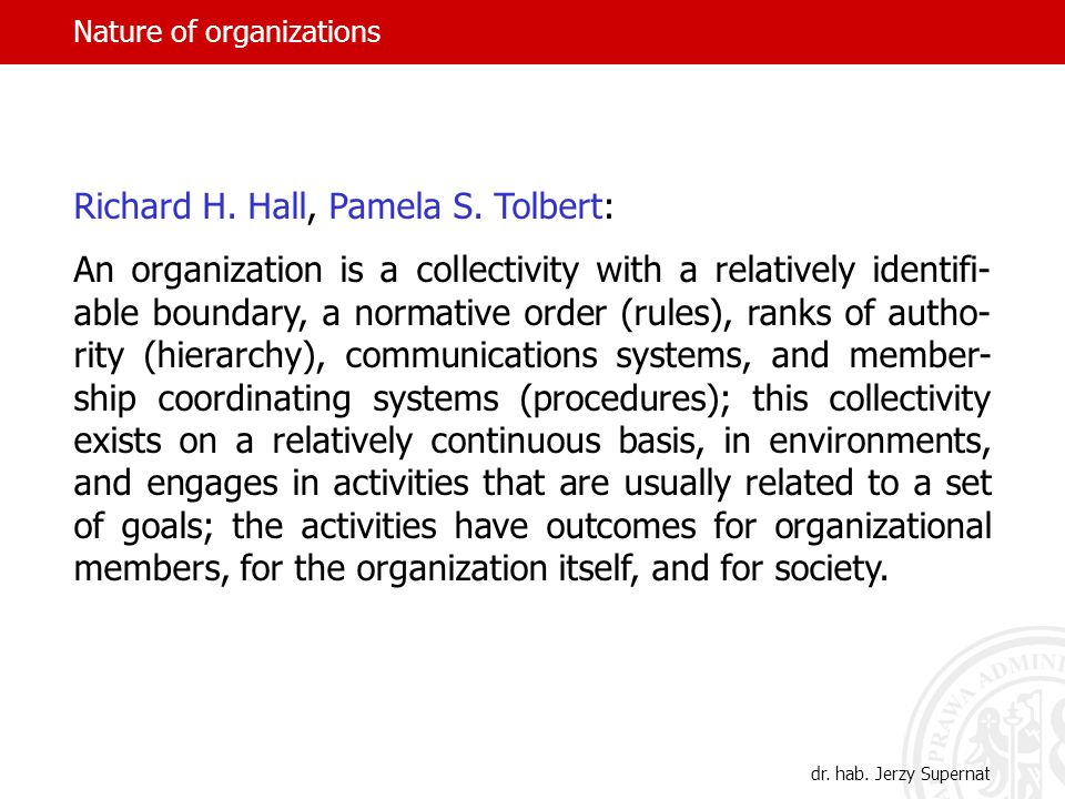 Nature of organizations dr.hab.