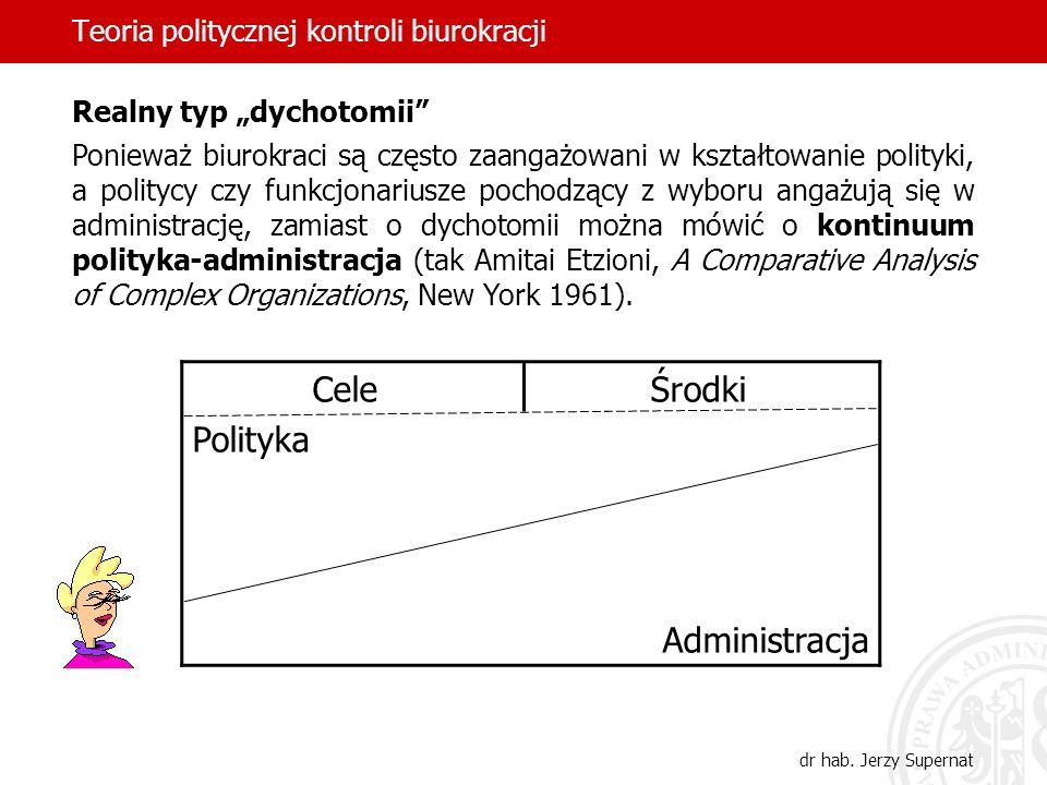 Teoria politycznej kontroli biurokracji dr hab. Jerzy Supernat Realny typ dychotomii Ponieważ biurokraci są często zaangażowani w kształtowanie polity