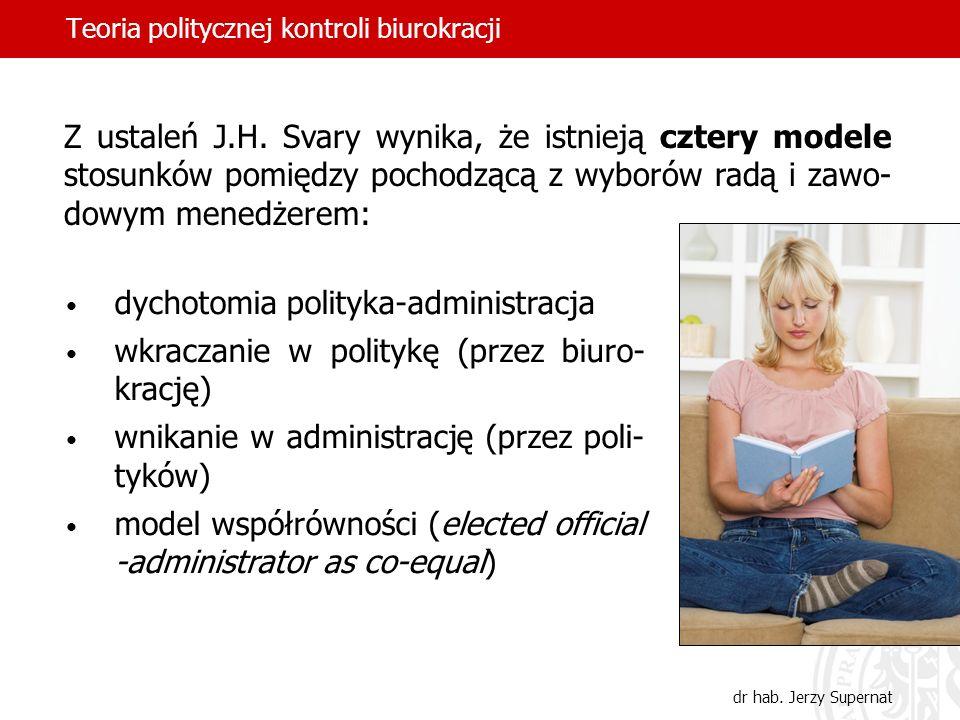 Teoria politycznej kontroli biurokracji dr hab. Jerzy Supernat dychotomia polityka-administracja wkraczanie w politykę (przez biuro- krację) wnikanie