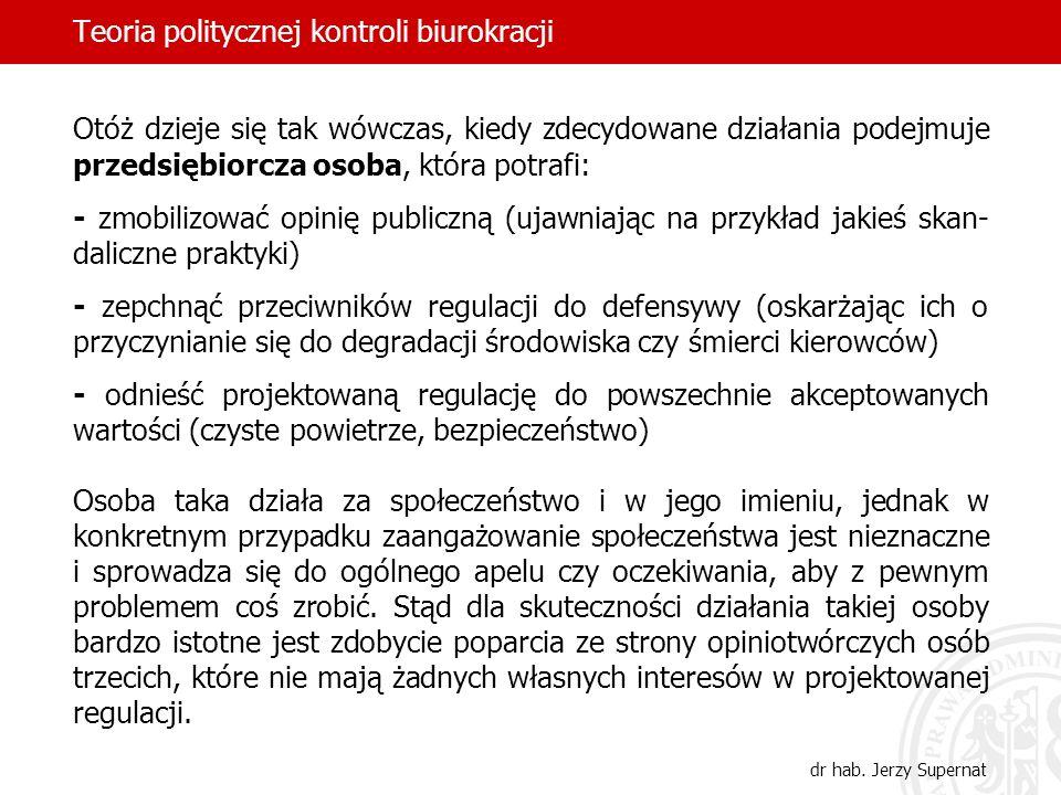 Teoria politycznej kontroli biurokracji dr hab. Jerzy Supernat Otóż dzieje się tak wówczas, kiedy zdecydowane działania podejmuje przedsiębiorcza osob