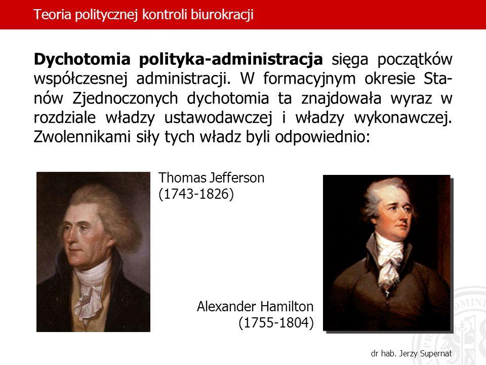 Teoria politycznej kontroli biurokracji dr hab. Jerzy Supernat Dychotomia polityka-administracja sięga początków współczesnej administracji. W formacy