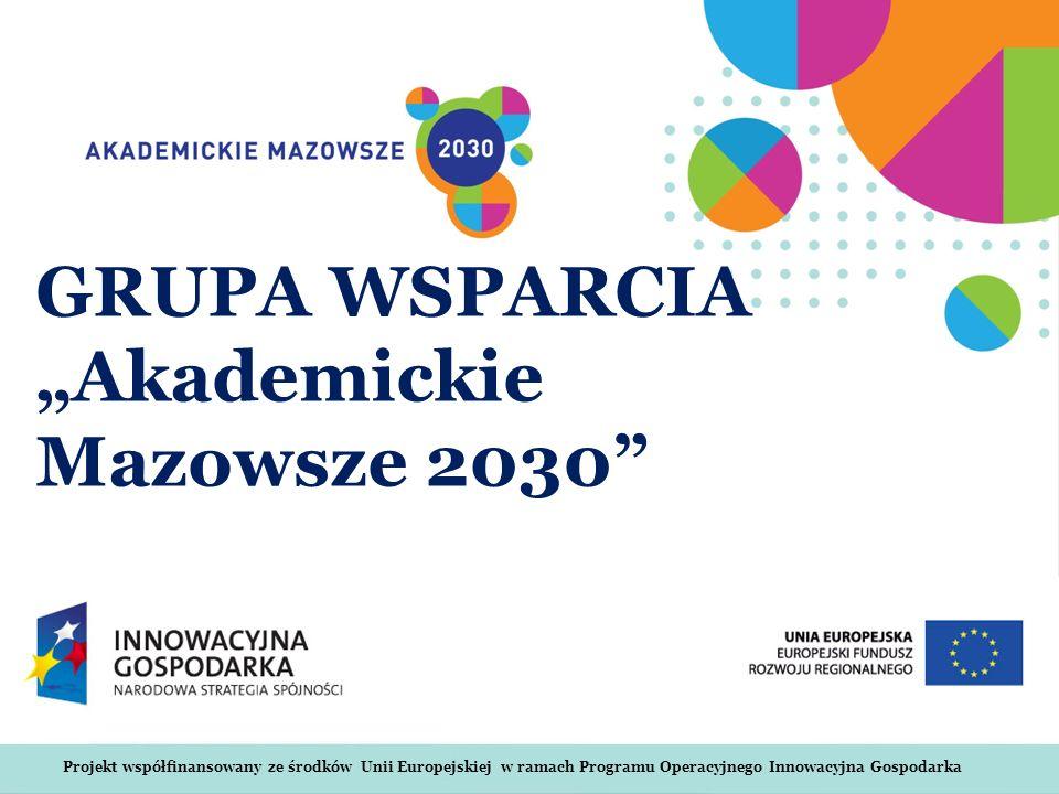 Projekt współfinansowany ze środków Unii Europejskiej w ramach Programu Operacyjnego Innowacyjna Gospodarka GRUPA WSPARCIA Akademickie Mazowsze 2030