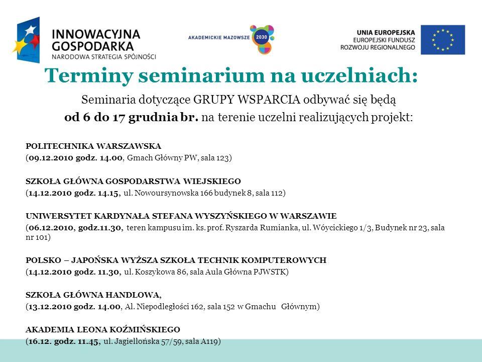 Terminy seminarium na uczelniach: Seminaria dotyczące GRUPY WSPARCIA odbywać się będą od 6 do 17 grudnia br.
