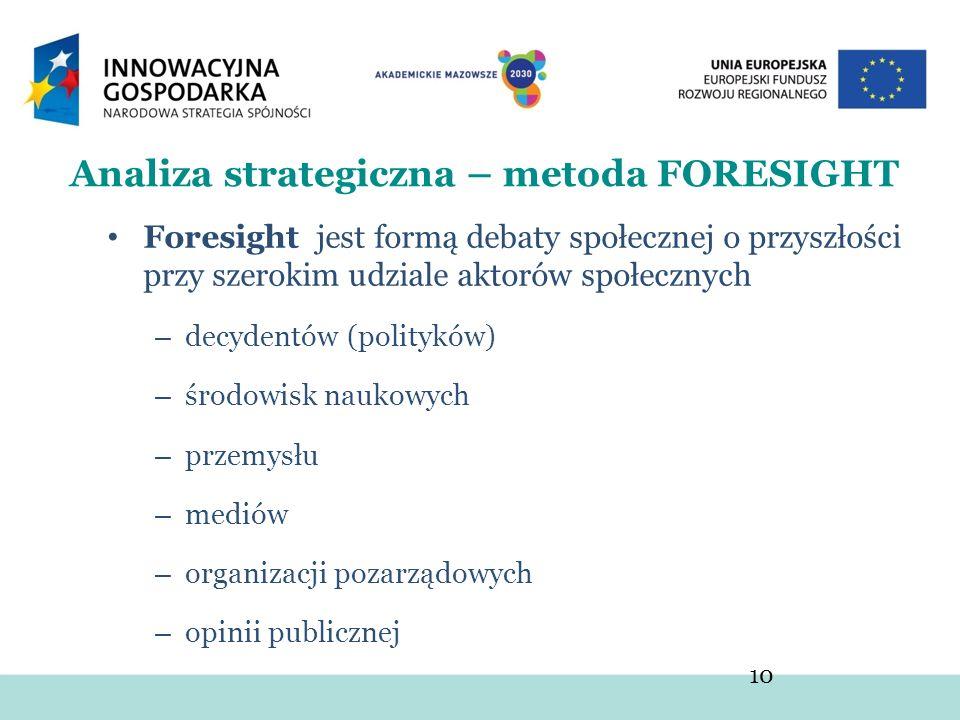 Foresight jest formą debaty społecznej o przyszłości przy szerokim udziale aktorów społecznych – decydentów (polityków) – środowisk naukowych – przemy