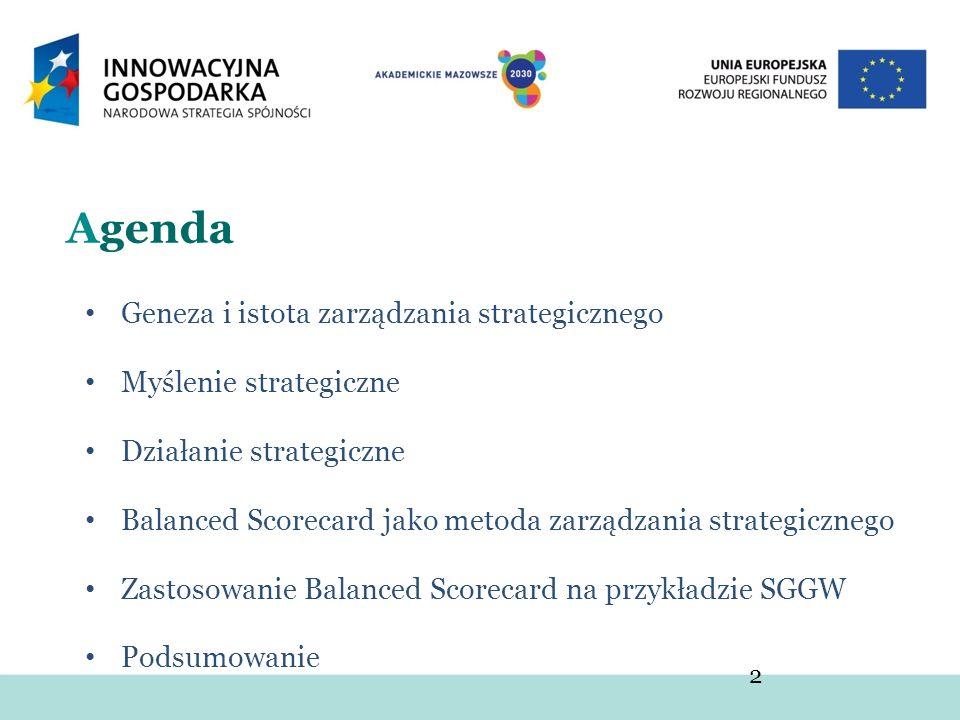 2 Agenda Geneza i istota zarządzania strategicznego Myślenie strategiczne Działanie strategiczne Balanced Scorecard jako metoda zarządzania strategicz