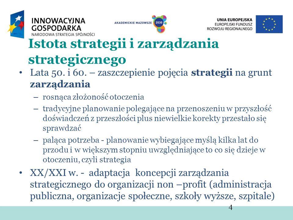 Istota strategii i zarządzania strategicznego Lata 50. i 60. – zaszczepienie pojęcia strategii na grunt zarządzania – rosnąca złożoność otoczenia – tr