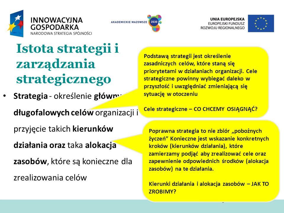 Istota strategii i zarządzania strategicznego Strategia - określenie głównych długofalowych celów organizacji i przyjęcie takich kierunków działania o