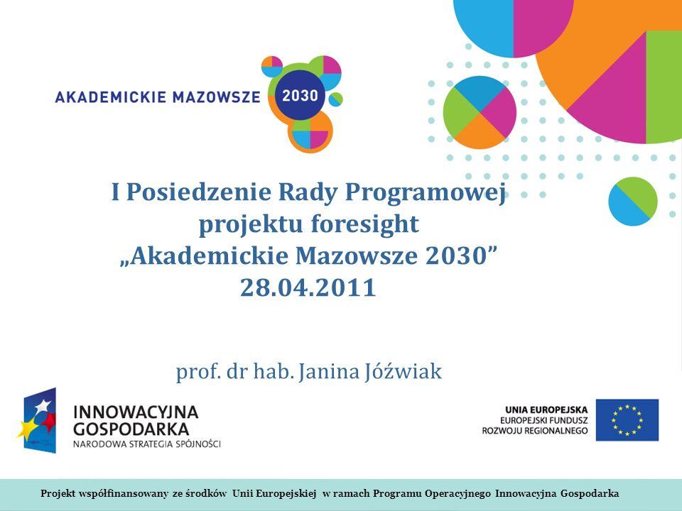 Projekt współfinansowany ze środków Unii Europejskiej w ramach Programu Operacyjnego Innowacyjna Gospodarka I Posiedzenie Rady Programowej projektu foresight Akademickie Mazowsze 2030 28.04.2011 prof.