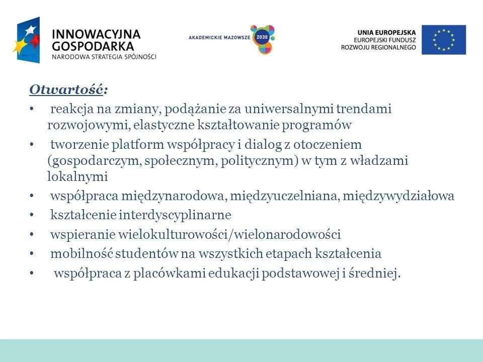 Otwartość: reakcja na zmiany, podążanie za uniwersalnymi trendami rozwojowymi, elastyczne kształtowanie programów tworzenie platform współpracy i dialog z otoczeniem (gospodarczym, społecznym, politycznym) w tym z władzami lokalnymi współpraca międzynarodowa, międzyuczelniana, międzywydziałowa kształcenie interdyscyplinarne wspieranie wielokulturowości/wielonarodowości mobilność studentów na wszystkich etapach kształcenia współpraca z placówkami edukacji podstawowej i średniej.