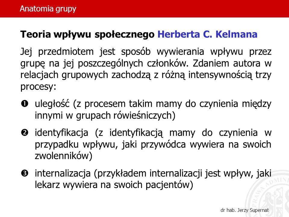 Anatomia grupy dr hab. Jerzy Supernat Teoria wpływu społecznego Herberta C. Kelmana Jej przedmiotem jest sposób wywierania wpływu przez grupę na jej p