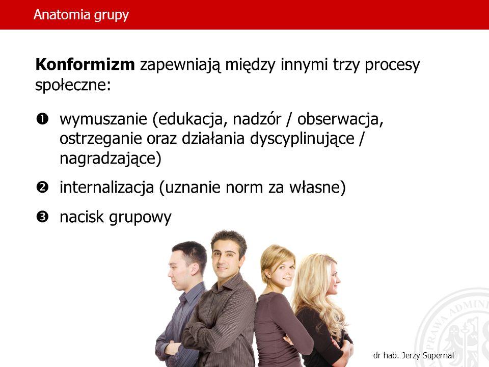 Anatomia grupy dr hab. Jerzy Supernat Konformizm zapewniają między innymi trzy procesy społeczne: wymuszanie (edukacja, nadzór / obserwacja, ostrzegan