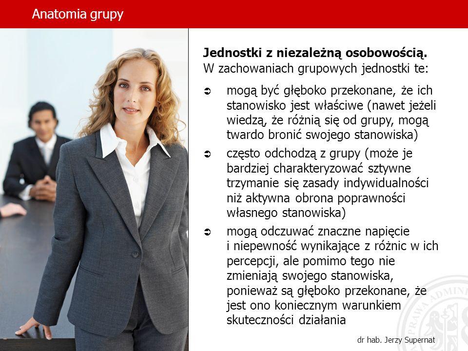 Anatomia grupy dr hab. Jerzy Supernat Jednostki z niezależną osobowością. W zachowaniach grupowych jednostki te: mogą być głęboko przekonane, że ich s