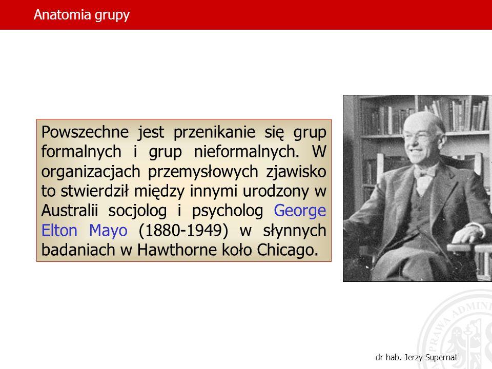 Anatomia grupy dr hab. Jerzy Supernat Powszechne jest przenikanie się grup formalnych i grup nieformalnych. W organizacjach przemysłowych zjawisko to