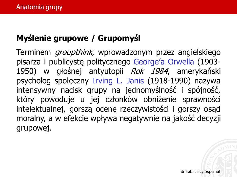 Anatomia grupy dr hab. Jerzy Supernat Myślenie grupowe / Grupomyśl Terminem groupthink, wprowadzonym przez angielskiego pisarza i publicystę polityczn