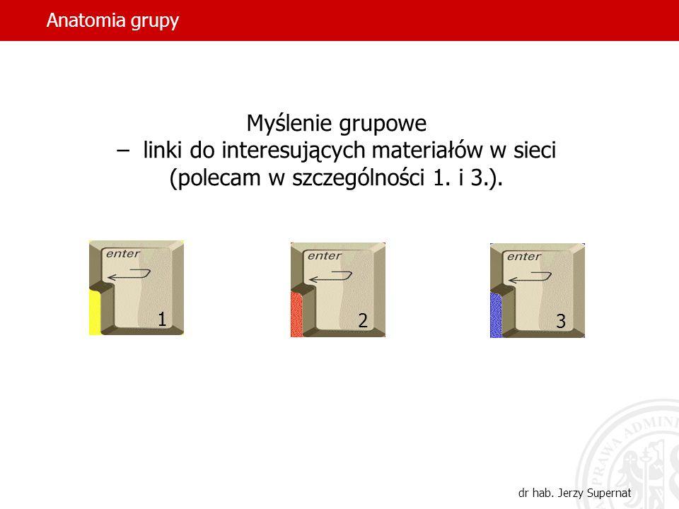 Anatomia grupy dr hab. Jerzy Supernat Myślenie grupowe – linki do interesujących materiałów w sieci (polecam w szczególności 1. i 3.). 1 2 3