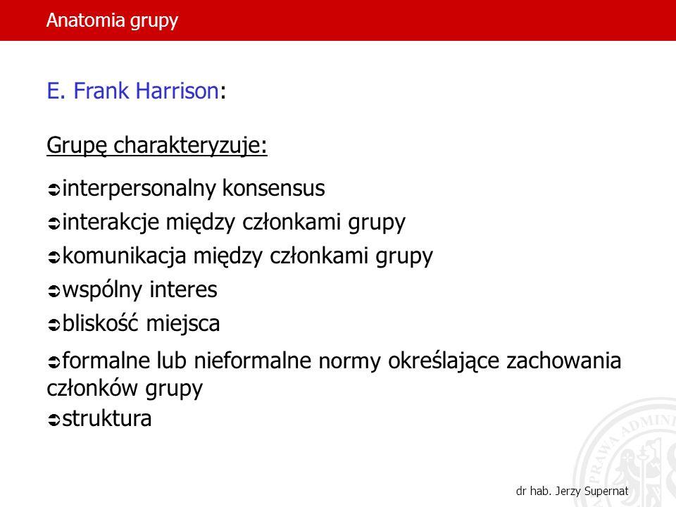 Anatomia grupy dr hab. Jerzy Supernat E. Frank Harrison: Grupę charakteryzuje: interpersonalny konsensus interakcje między członkami grupy komunikacja