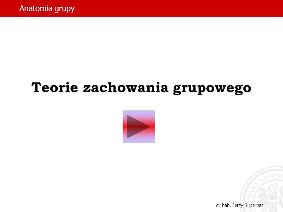 Anatomia grupy dr hab. Jerzy Supernat Teorie zachowania grupowego