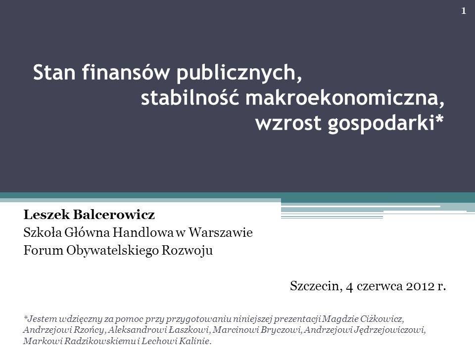 Stan finansów publicznych, stabilność makroekonomiczna, wzrost gospodarki* Leszek Balcerowicz Szkoła Główna Handlowa w Warszawie Forum Obywatelskiego