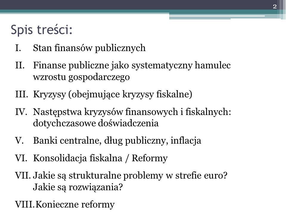 Spis treści: I.Stan finansów publicznych II.Finanse publiczne jako systematyczny hamulec wzrostu gospodarczego III.Kryzysy (obejmujące kryzysy fiskaln