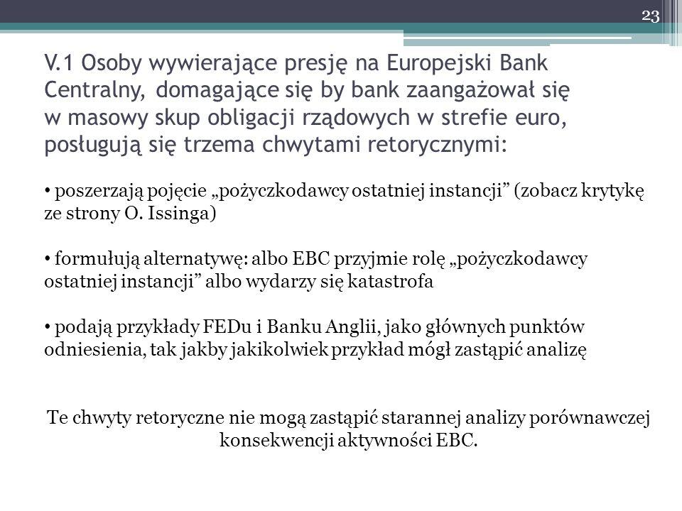 V.1 Osoby wywierające presję na Europejski Bank Centralny, domagające się by bank zaangażował się w masowy skup obligacji rządowych w strefie euro, po
