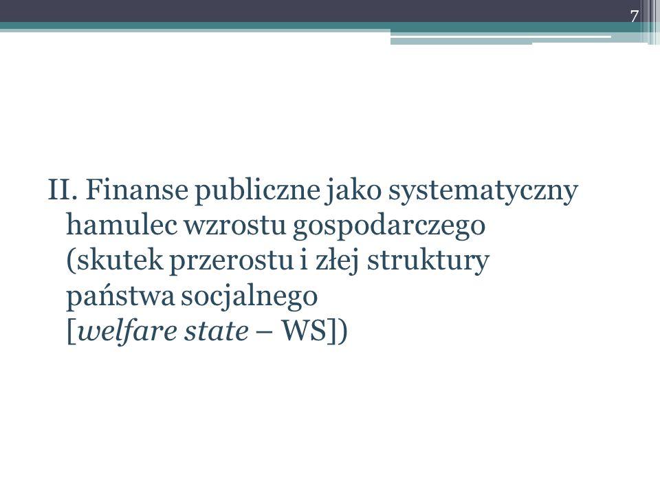 II. Finanse publiczne jako systematyczny hamulec wzrostu gospodarczego (skutek przerostu i złej struktury państwa socjalnego [welfare state – WS]) 7