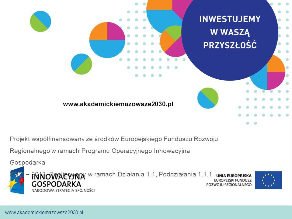 01 www.akademickiemazowsze2030.plWarszawa, 11.11.2009 www.akademickiemazowsze2030.pl Projekt współfinansowany ze środków Europejskiego Funduszu Rozwoj