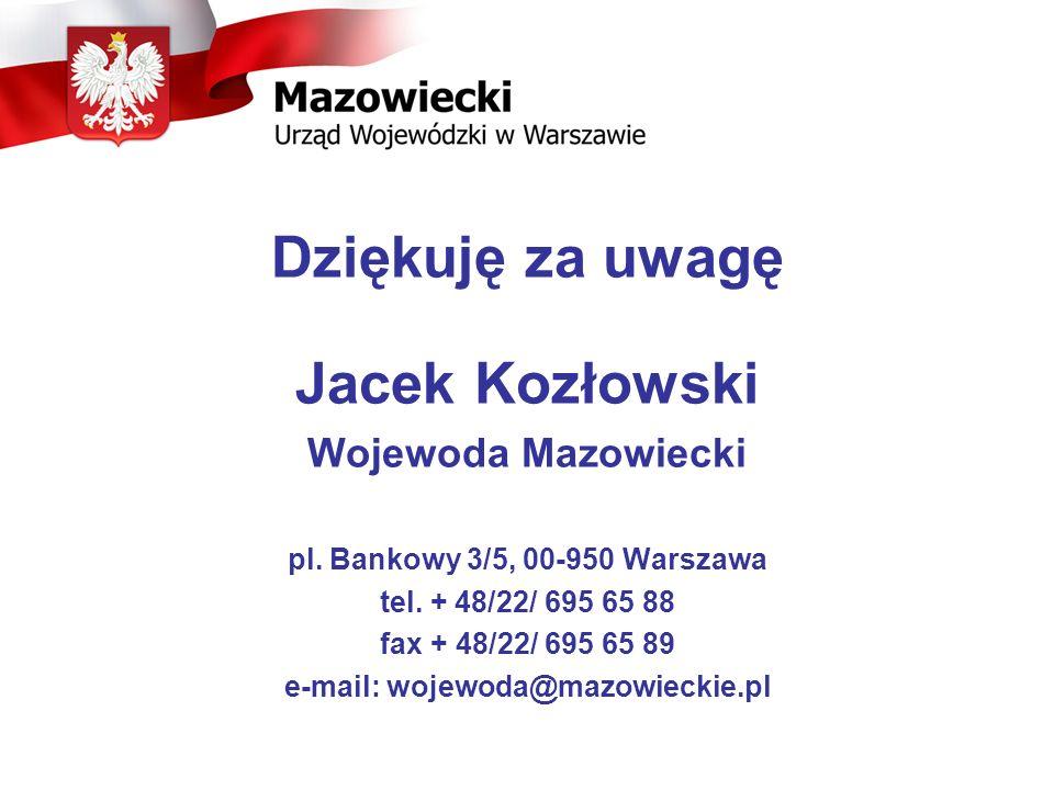 Dziękuję za uwagę Jacek Kozłowski Wojewoda Mazowiecki pl. Bankowy 3/5, 00-950 Warszawa tel. + 48/22/ 695 65 88 fax + 48/22/ 695 65 89 e-mail: wojewoda
