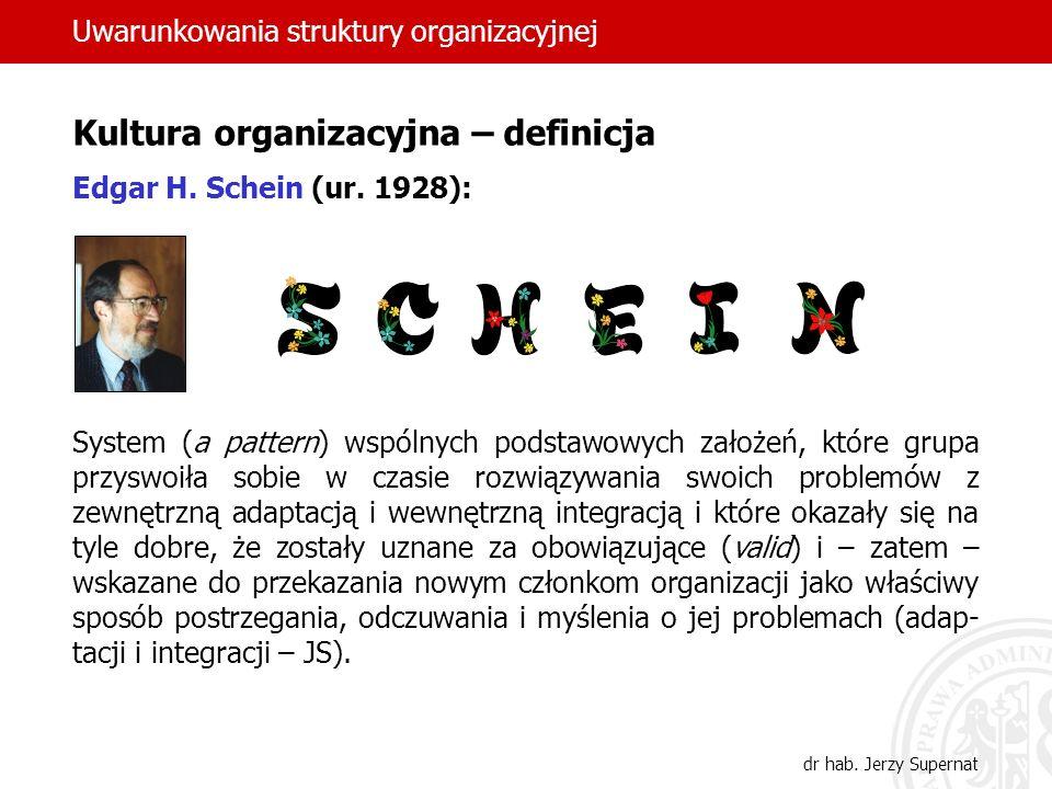 Uwarunkowania struktury organizacyjnej dr hab. Jerzy Supernat Kultura organizacyjna – definicja Edgar H. Schein (ur. 1928): System (a pattern) wspólny
