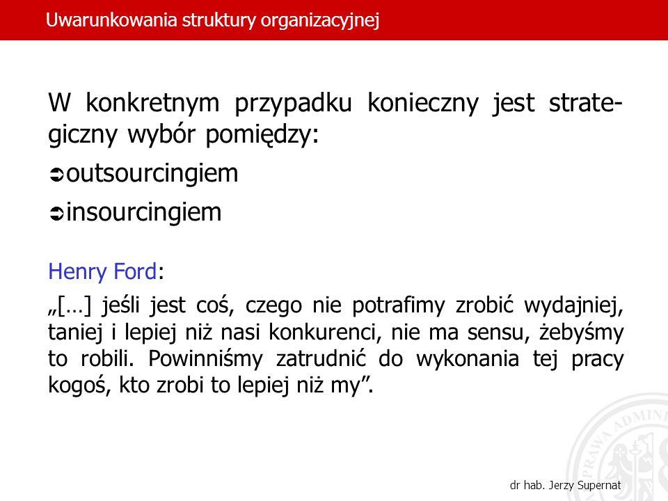 Uwarunkowania struktury organizacyjnej dr hab. Jerzy Supernat W konkretnym przypadku konieczny jest strate- giczny wybór pomiędzy: outsourcingiem inso