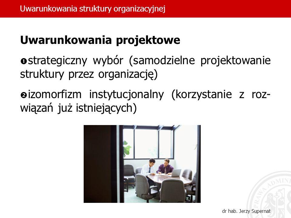 dr hab. Jerzy Supernat Uwarunkowania projektowe strategiczny wybór (samodzielne projektowanie struktury przez organizację) izomorfizm instytucjonalny