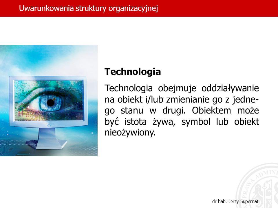 dr hab. Jerzy Supernat Uwarunkowania struktury organizacyjnej Technologia Technologia obejmuje oddziaływanie na obiekt i/lub zmienianie go z jedne- go