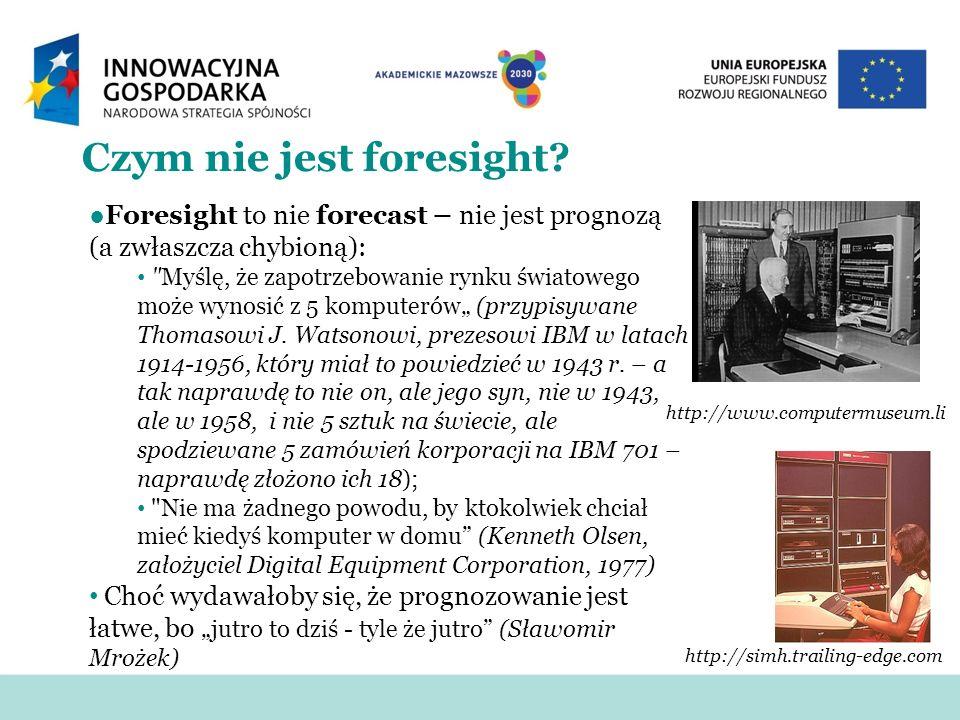 Czym nie jest foresight? Foresight to nie forecast – nie jest prognozą (a zwłaszcza chybioną):