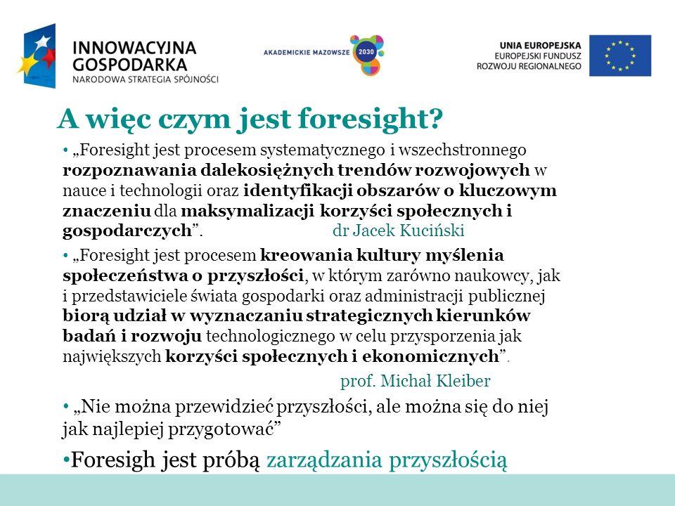 A więc czym jest foresight? Foresight jest procesem systematycznego i wszechstronnego rozpoznawania dalekosiężnych trendów rozwojowych w nauce i techn