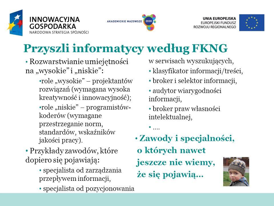 Przyszli informatycy według FKNG Rozwarstwianie umiejętności na wysokie i niskie: role wysokie – projektantów rozwiązań (wymagana wysoka kreatywność i