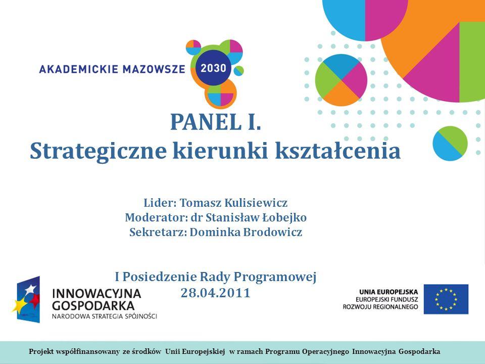 Projekt współfinansowany ze środków Unii Europejskiej w ramach Programu Operacyjnego Innowacyjna Gospodarka PANEL I.