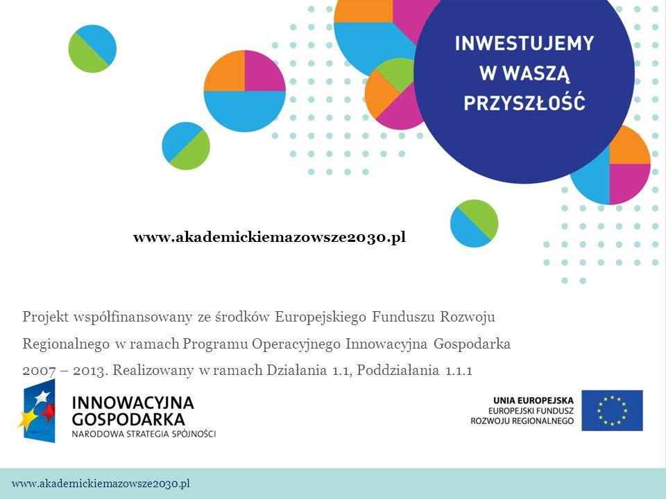 01 www.akademickiemazowsze2030.plWarszawa, 11.11.2009 www.akademickiemazowsze2030.pl Projekt współfinansowany ze środków Europejskiego Funduszu Rozwoju Regionalnego w ramach Programu Operacyjnego Innowacyjna Gospodarka 2007 – 2013.