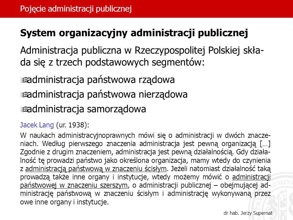 22 Pojęcie administracji publicznej dr hab. Jerzy Supernat System organizacyjny administracji publicznej Administracja publiczna w Rzeczypospolitej Po