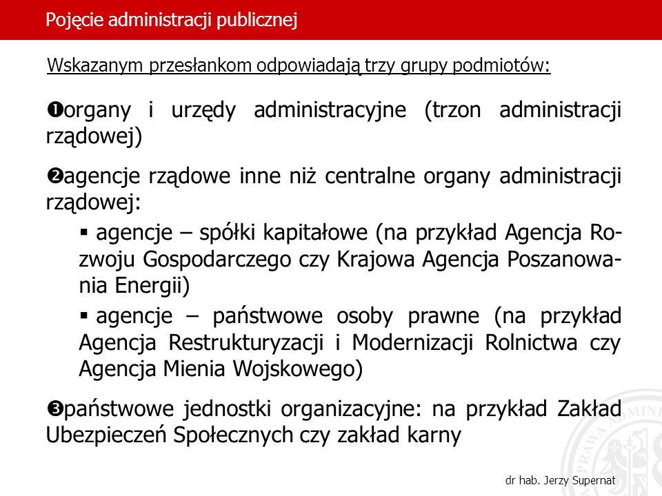25 Pojęcie administracji publicznej dr hab. Jerzy Supernat Wskazanym przesłankom odpowiadają trzy grupy podmiotów: organy i urzędy administracyjne (tr