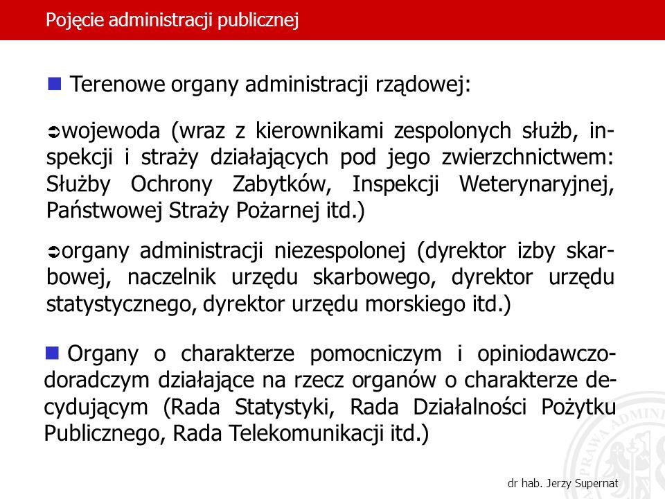 29 Pojęcie administracji publicznej dr hab. Jerzy Supernat Terenowe organy administracji rządowej: wojewoda (wraz z kierownikami zespolonych służb, in