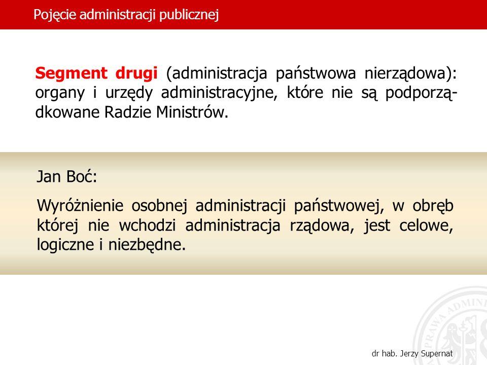 30 Pojęcie administracji publicznej dr hab. Jerzy Supernat Segment drugi (administracja państwowa nierządowa): organy i urzędy administracyjne, które