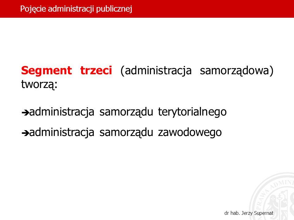 32 Pojęcie administracji publicznej dr hab. Jerzy Supernat Segment trzeci (administracja samorządowa) tworzą: administracja samorządu terytorialnego a