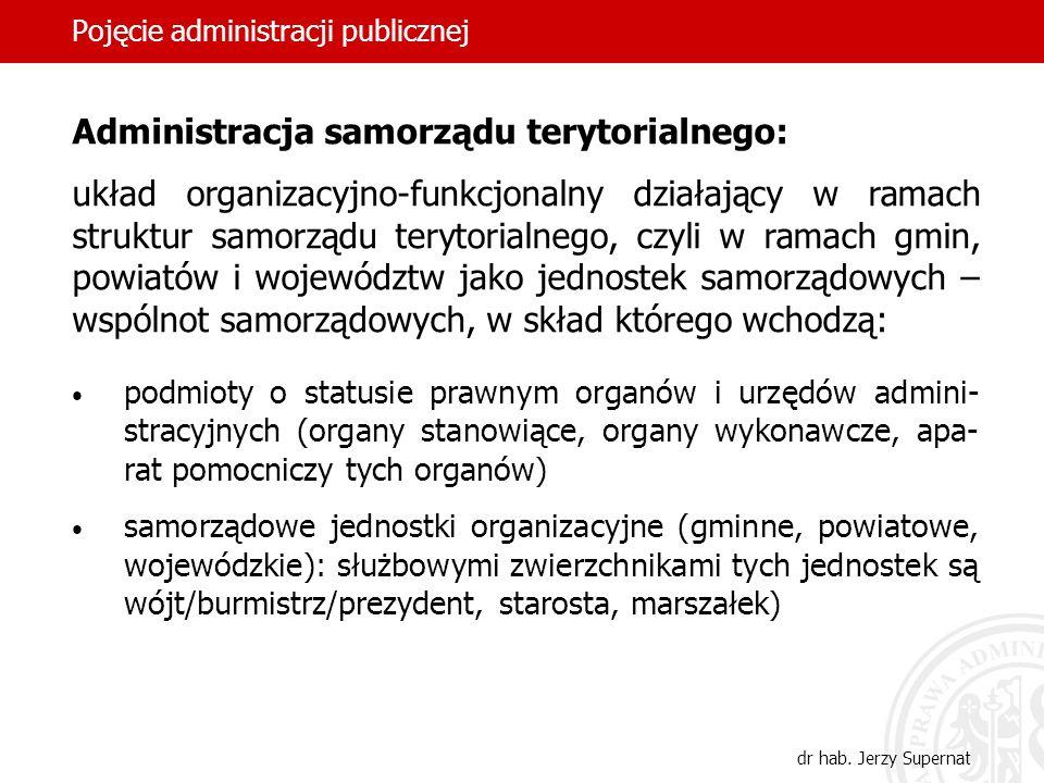 33 Pojęcie administracji publicznej dr hab. Jerzy Supernat podmioty o statusie prawnym organów i urzędów admini- stracyjnych (organy stanowiące, organ
