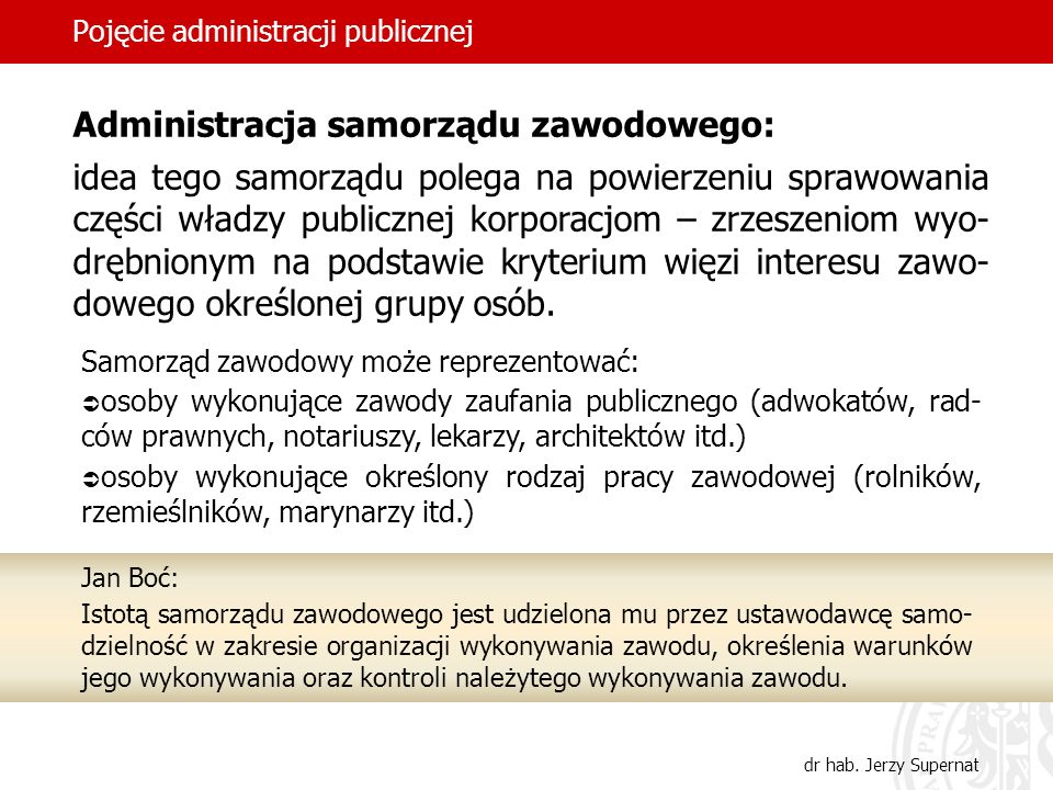 34 Pojęcie administracji publicznej dr hab. Jerzy Supernat Administracja samorządu zawodowego: idea tego samorządu polega na powierzeniu sprawowania c