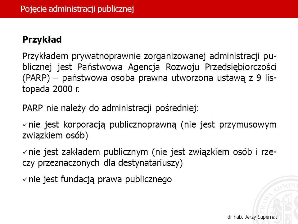 48 Pojęcie administracji publicznej dr hab. Jerzy Supernat Przykład Przykładem prywatnoprawnie zorganizowanej administracji pu- blicznej jest Państwow