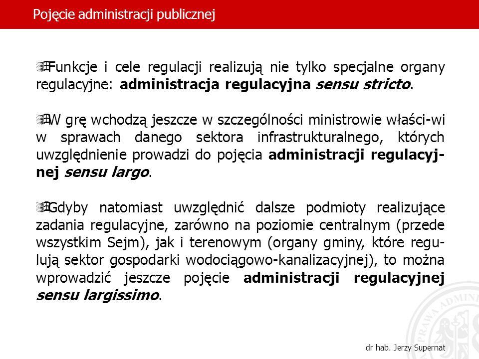 54 Pojęcie administracji publicznej dr hab. Jerzy Supernat Funkcje i cele regulacji realizują nie tylko specjalne organy regulacyjne: administracja re
