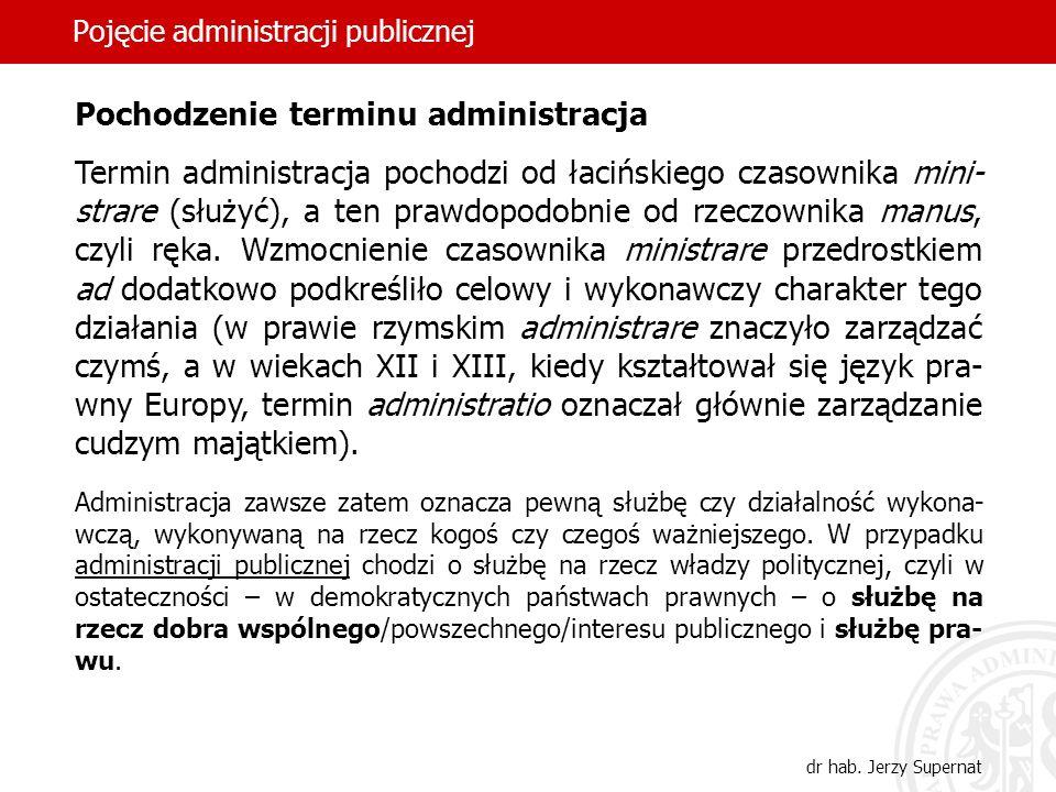 6 Pojęcie administracji publicznej dr hab. Jerzy Supernat Pochodzenie terminu administracja Termin administracja pochodzi od łacińskiego czasownika mi