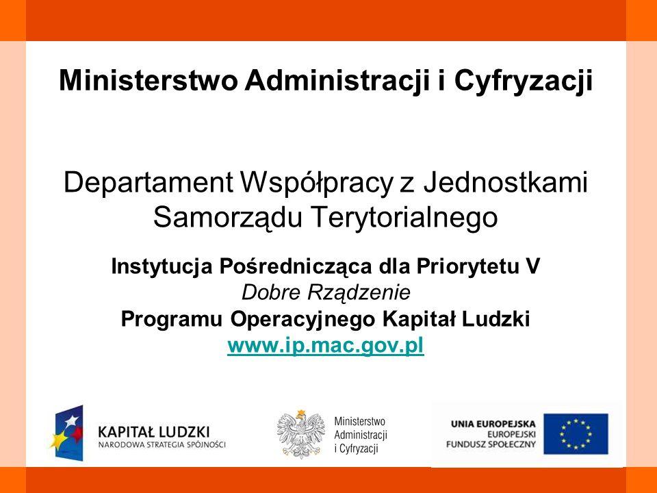 Ministerstwo Administracji i Cyfryzacji Departament Współpracy z Jednostkami Samorządu Terytorialnego Instytucja Pośrednicząca dla Priorytetu V Dobre