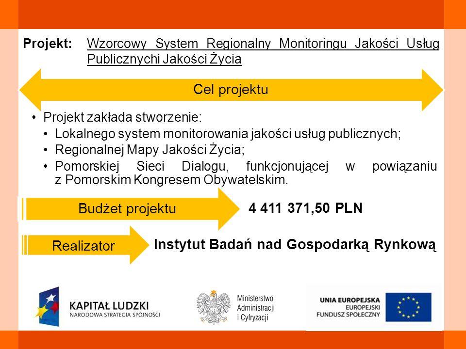 Cel projektu Projekt zakłada stworzenie: Lokalnego system monitorowania jakości usług publicznych; Regionalnej Mapy Jakości Życia; Pomorskiej Sieci Di