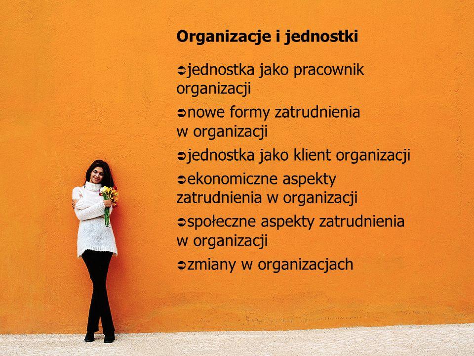 Organizacje i jednostki jednostka jako pracownik organizacji nowe formy zatrudnienia w organizacji jednostka jako klient organizacji ekonomiczne aspek